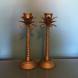 ☘️Antique Brass Palm Tree Candle Holders☘️